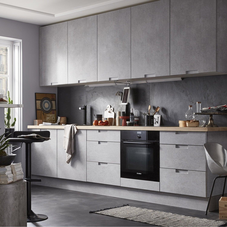 meuble de cuisine décor béton delinia berlin | leroy merlin