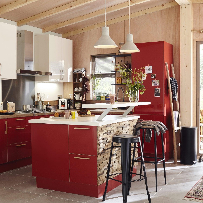 Meuble de cuisine rouge delinia grenade leroy merlin for Concevoir cuisine leroy merlin