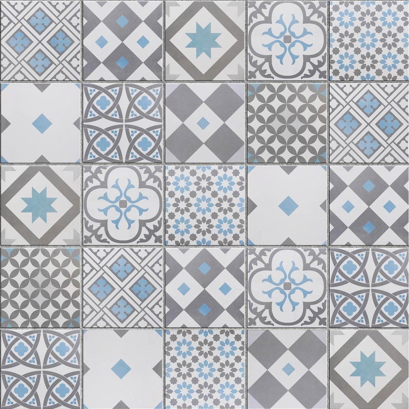 mosaïque sol et mur gatsby décor gris et bleu 6.17 x 6.17 cm ... - Salle De Bain Mosaique Bleu