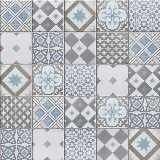 Mosa que sol et mur gatsby d cor gris et bleu x - Salon de jardin mosaique ...