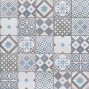 Mosaïque sol et mur Gatsby décor gris et bleu