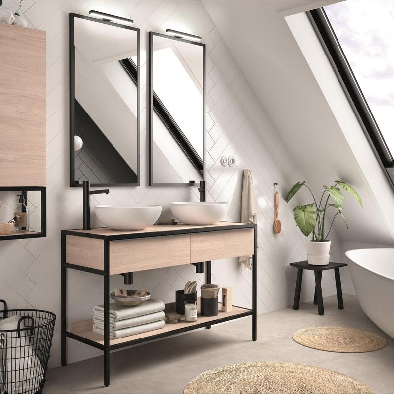 Meuble De Salle De Bains L120 X H772 X P45 Cm Effet Chêne Naturel Studio