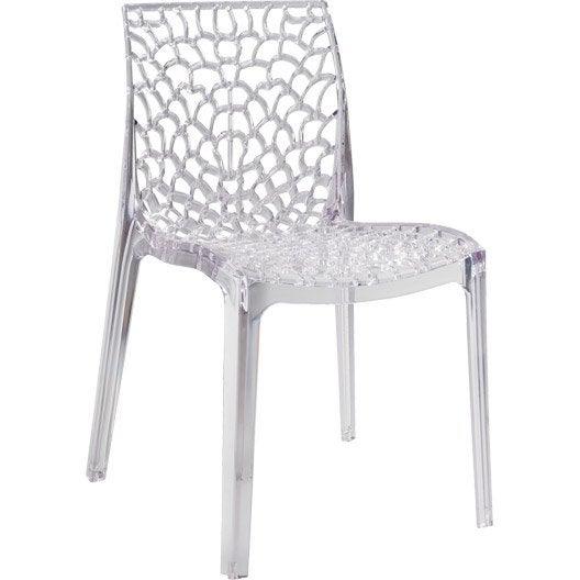 chaise de jardin en polycarbonate grafik lux transparent leroy merlin. Black Bedroom Furniture Sets. Home Design Ideas