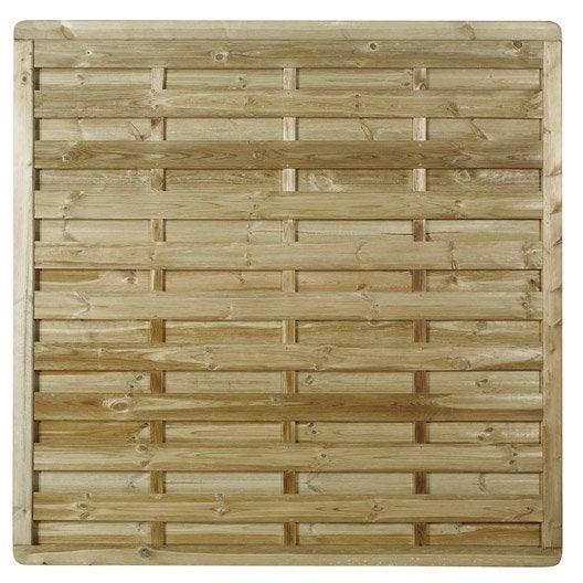 Panneau en bois droit occultant l 180 x h 180 cm naturel - Panneau occultant composite ...