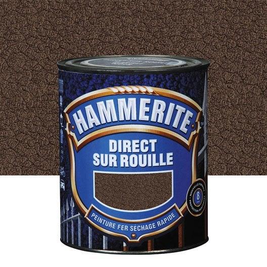 Peinture fer ext rieur hammerite ch taigne 2 5 l leroy merlin for Peinture sur fer forge