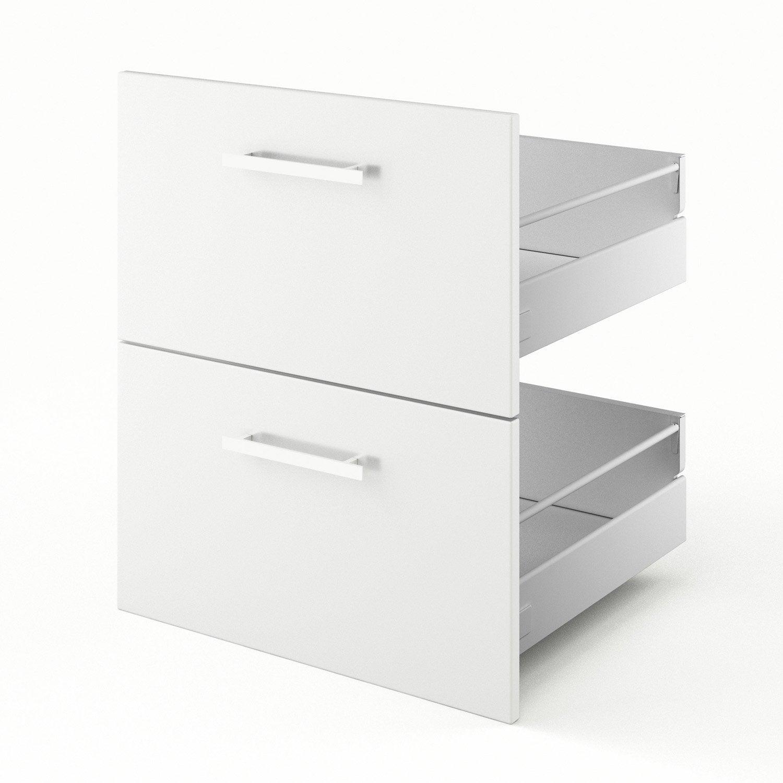 2 tiroirs de cuisine blanc Délice, L.60 x H.70 x P.55 cm