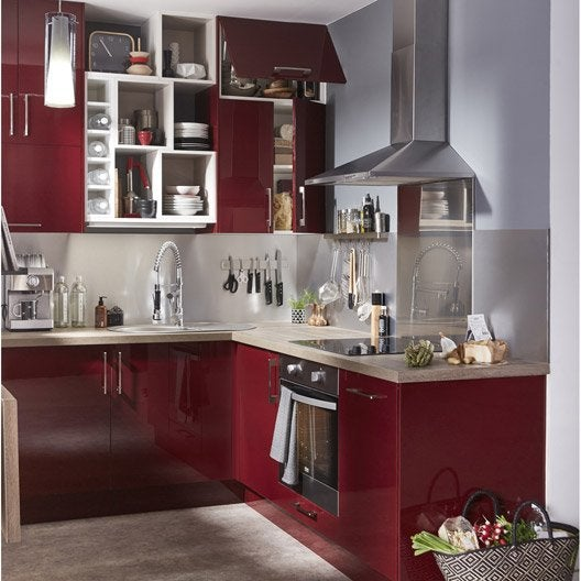 Meuble de cuisine rouge delinia griotte leroy merlin - Meuble angle cuisine leroy merlin ...