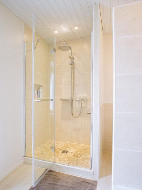 Un douche spatieuse avec une porte sur pivot