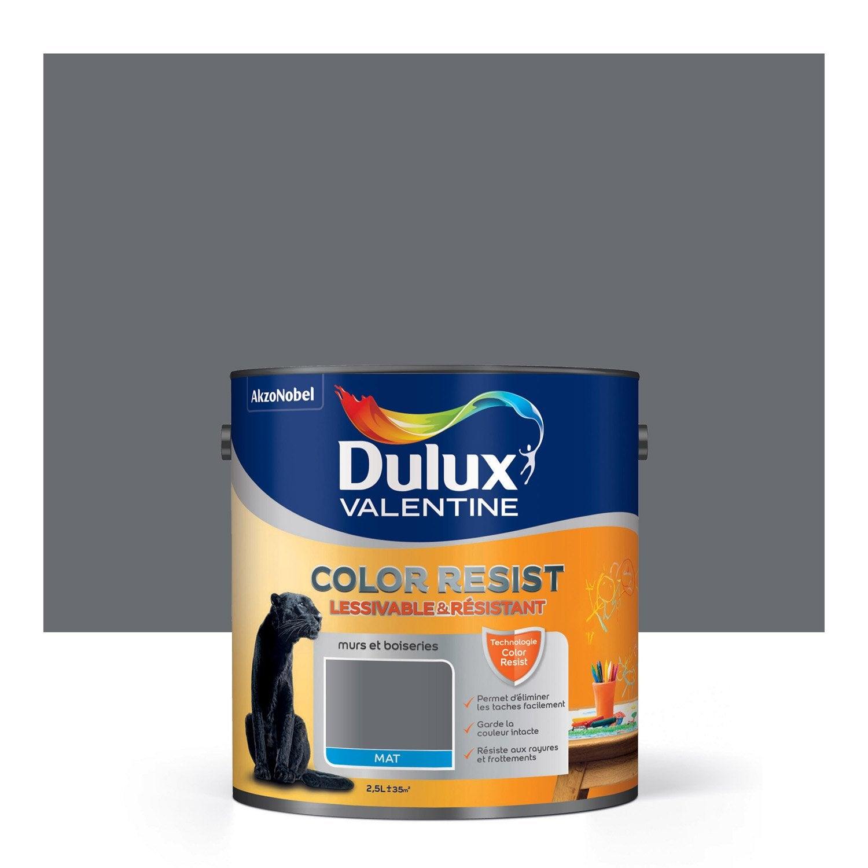 Peinture gris charbon mat DULUX VALENTINE Color resist 2.5 l | Leroy ...