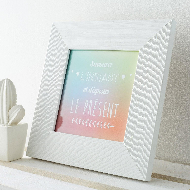 Cadre Mia, 14 x 14 cm, blanc