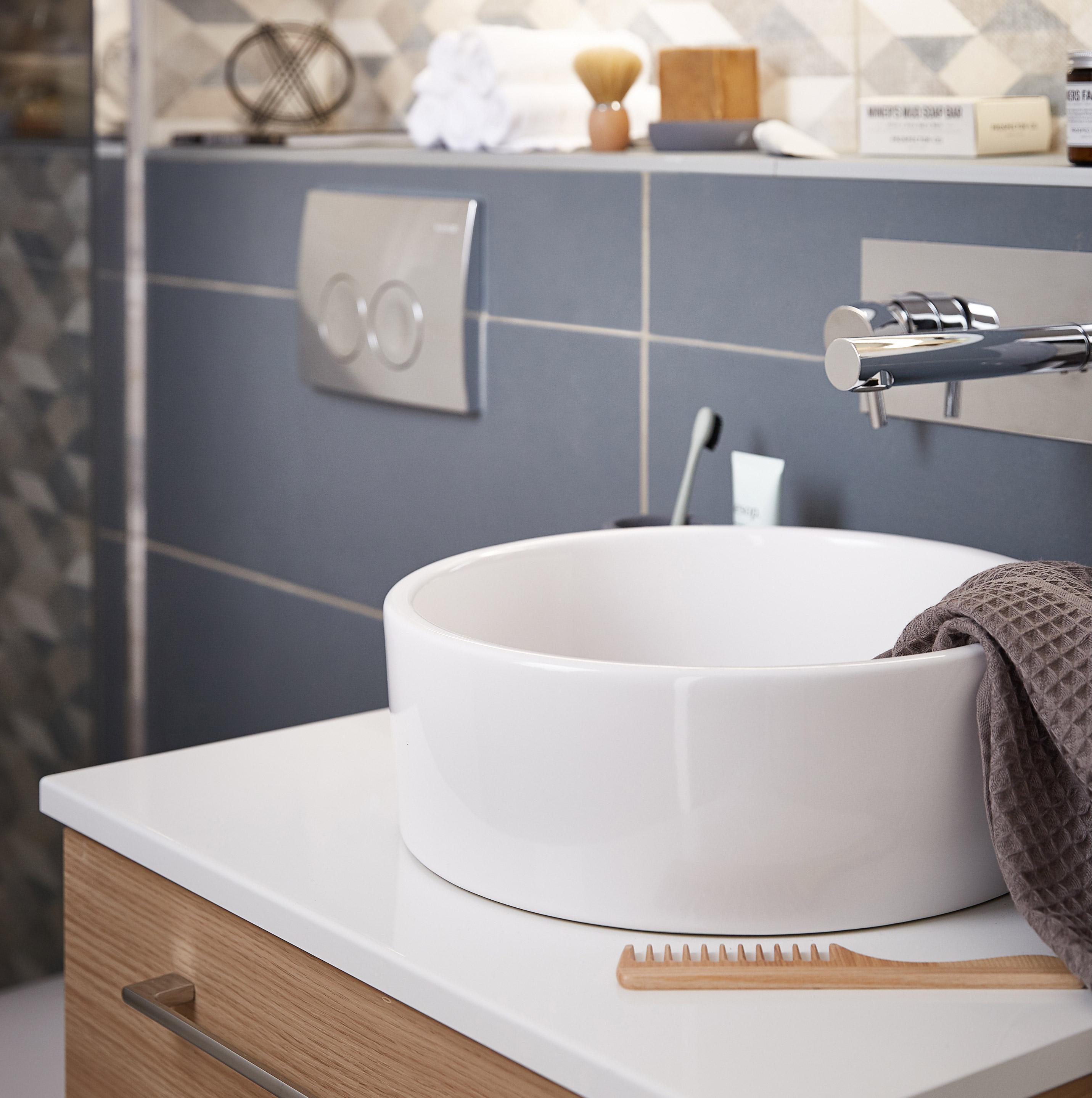 Vasque à poser céramique Diam.35 cm blanc Tube
