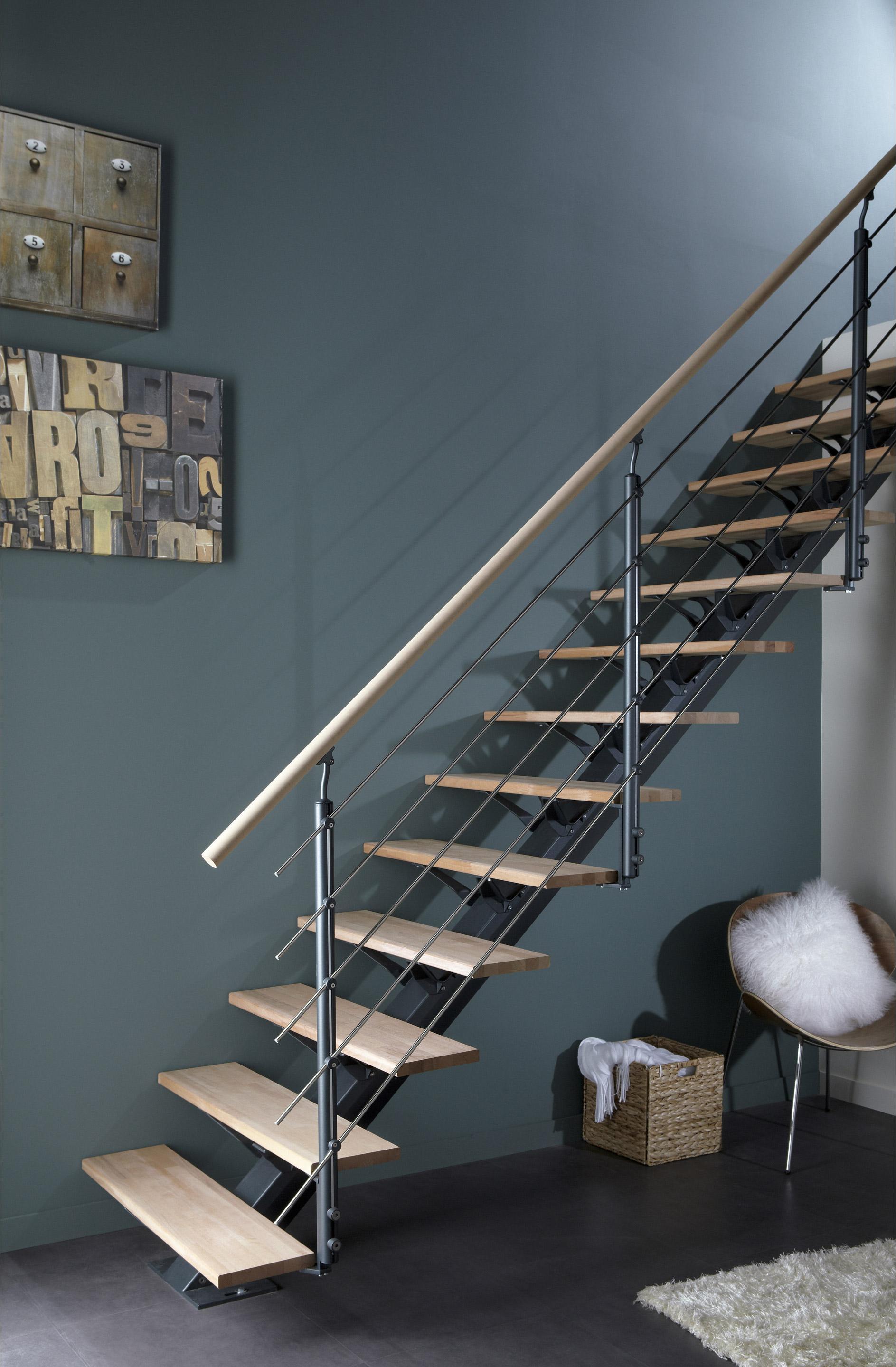 Escalier droit alu gris Mona 14 marches hêtre, l.85