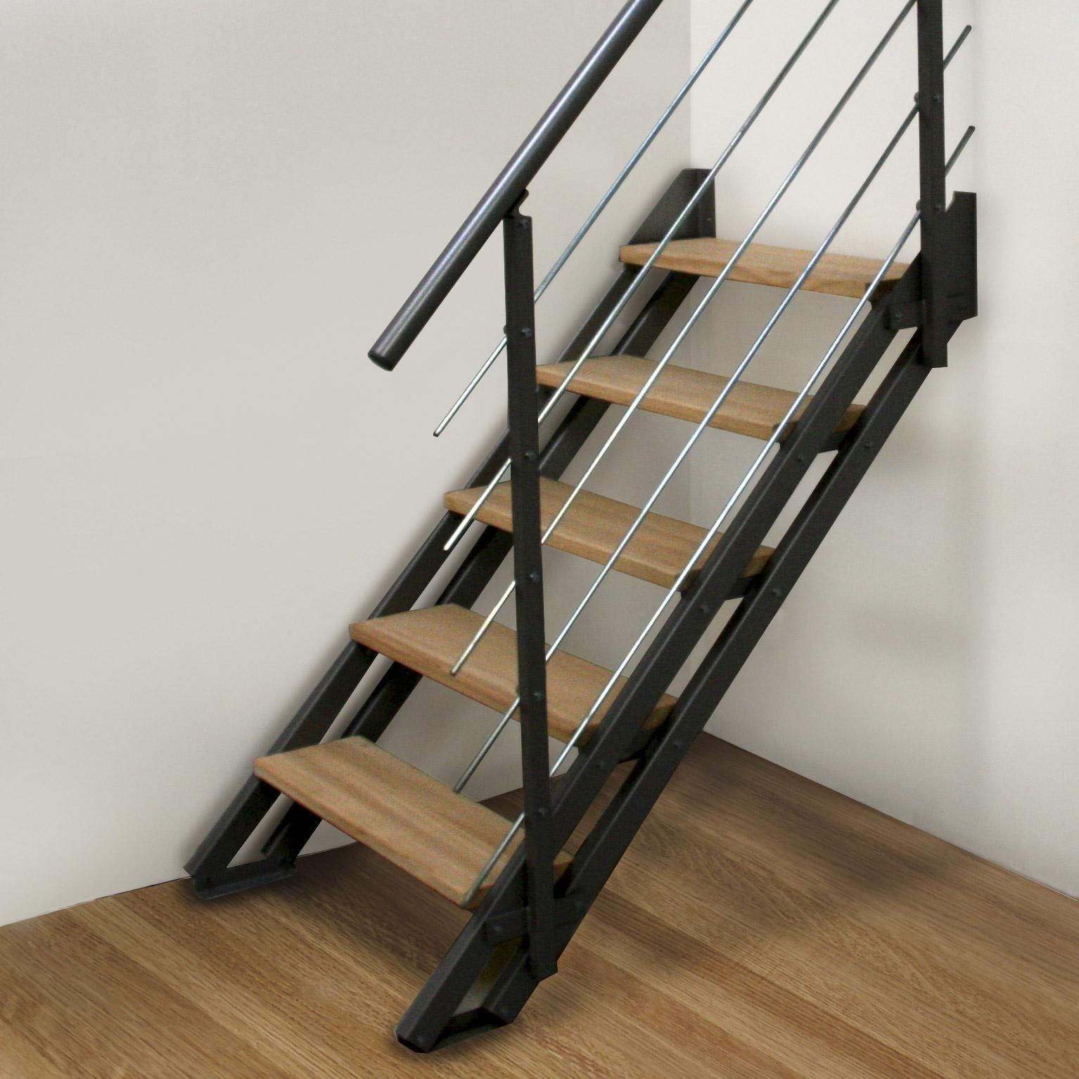 Escalier Bois Metal Noir escalier droit acier noir escavario 4 marches naturel, l.80 cm