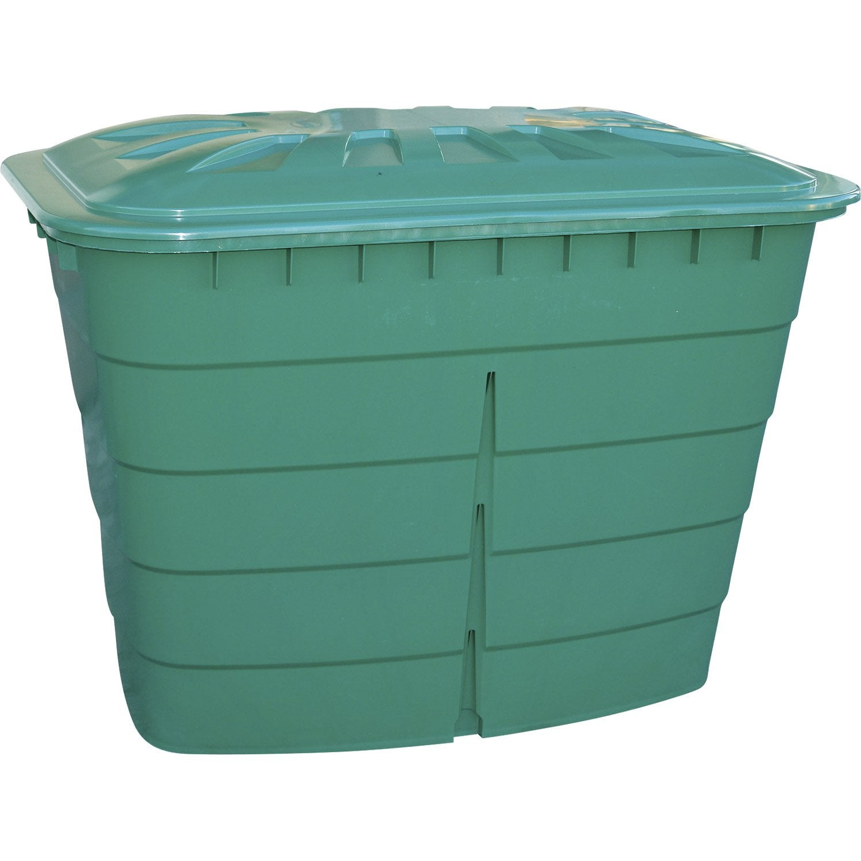 Cuve eau rectangulaire vert 520 l garantia leroy merlin - Reservoir d eau de pluie ...