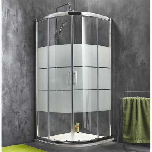 Porte de douche coulissante SENSEA Optima 2 verre sérigraphié