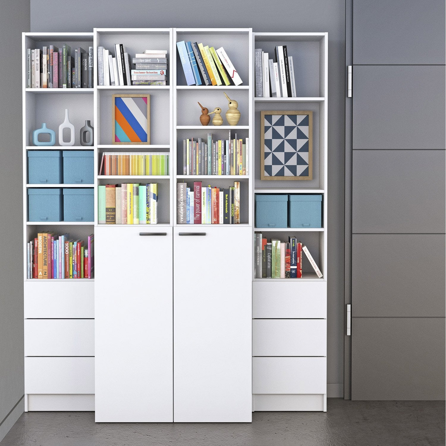 Biblioth Que Spaceo Home Blanc Leroy Merlin # Bibliotheque En Alu