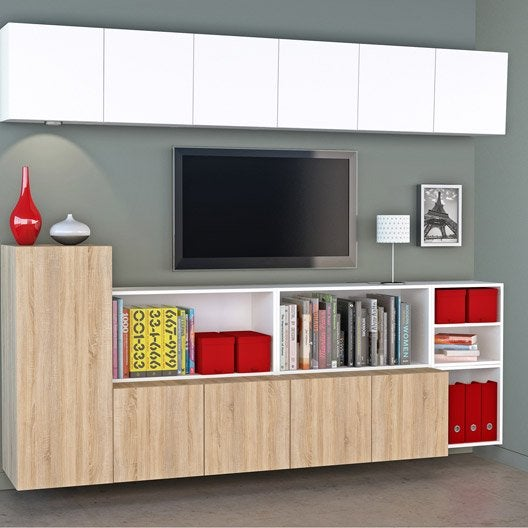 Meuble Tv Spaceo Home Effet Chene Leroy Merlin Sokolvineyard Com