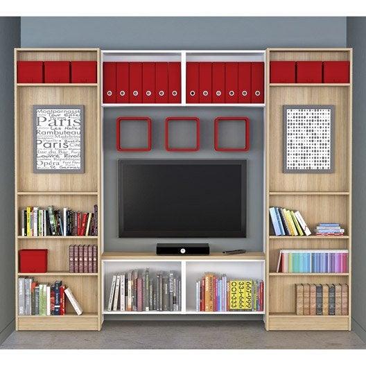 Meuble TV SPACEO Home, décor chêne  Leroy Merlin