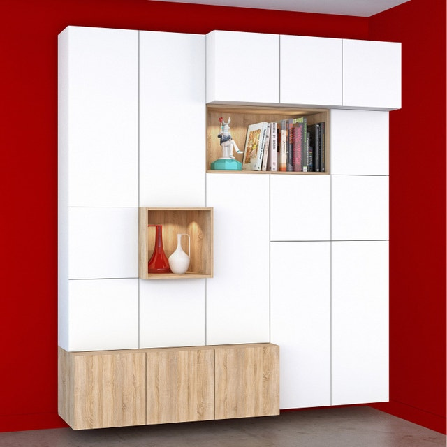 dressing meuble de rangement et biblioth que spaceo home au meilleur prix leroy merlin. Black Bedroom Furniture Sets. Home Design Ideas