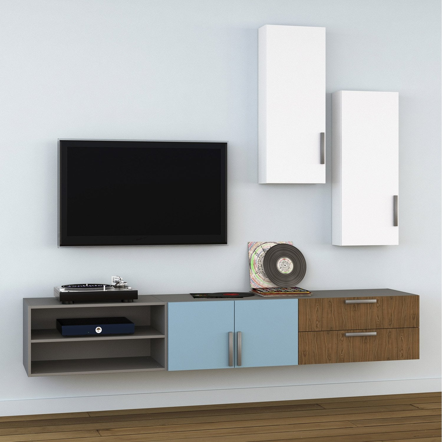 Meuble Tv Spaceo Home Effet Ch Ne Leroy Merlin # Amenagement Tele Meuble Suspendu