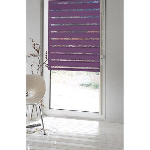Store enrouleur jour nuit inspire violet aubergine n 2 56 x 160 cm leroy merlin for Store tissu leroy merlin saint paul