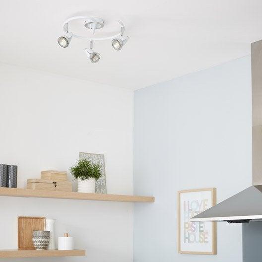 plafonnier 3 spots sans ampoule 3 x gu10 blanc worm inspire leroy merlin. Black Bedroom Furniture Sets. Home Design Ideas