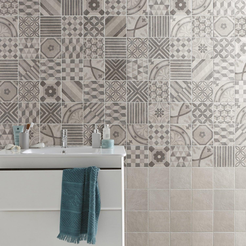 Carrelage sol et mur gris, Decor elliot l.15 x L.15 cm