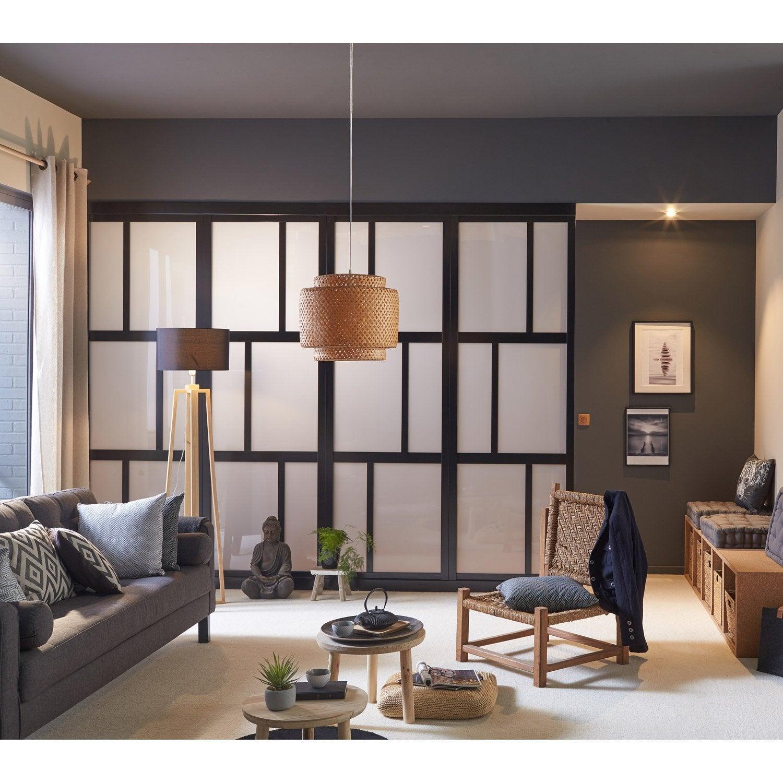 cloison de s paration osaka m dium mdf rev tu feuille d cor noir leroy merlin. Black Bedroom Furniture Sets. Home Design Ideas