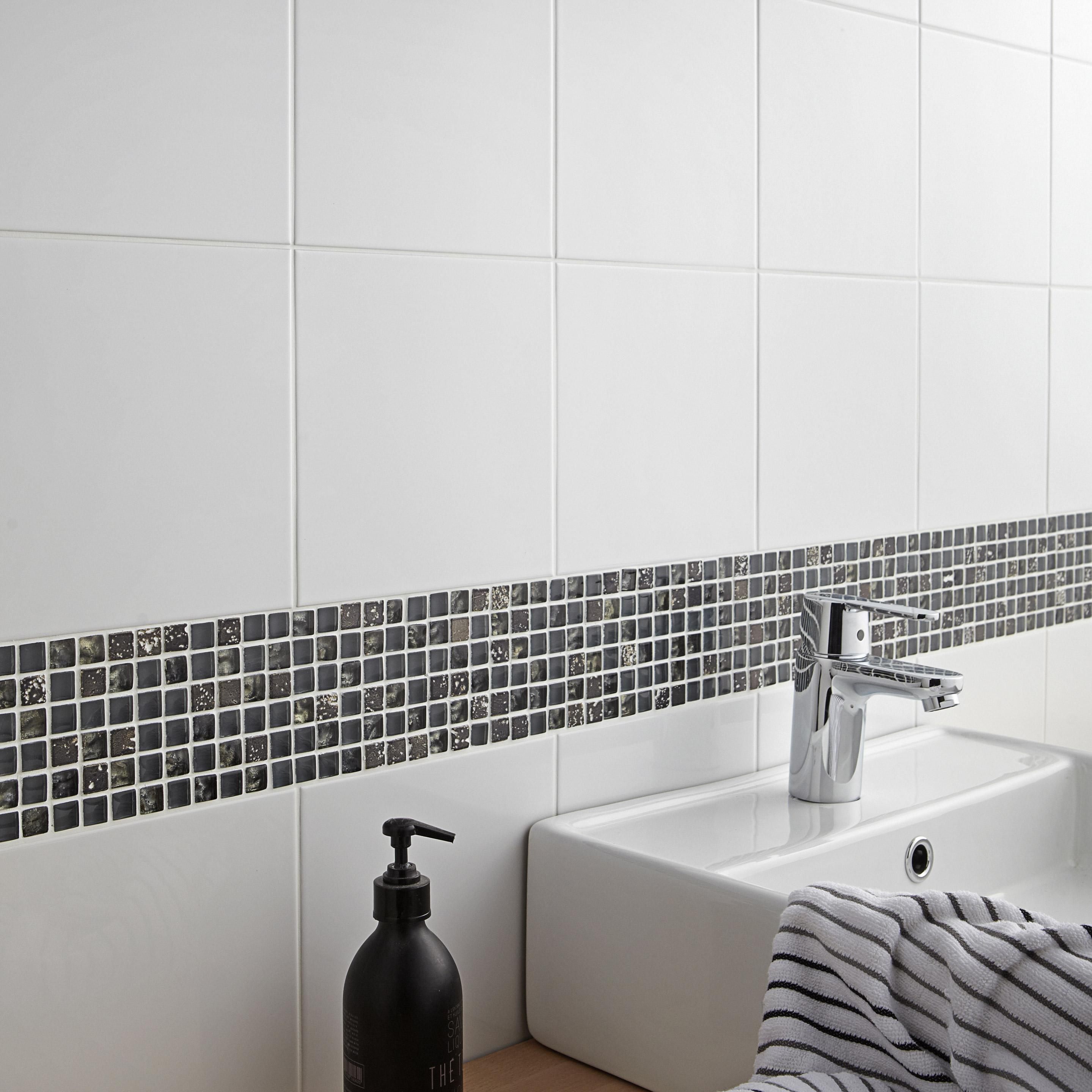 Faïence mur forte uni blanc brillante l.20 x L.20 cm, Basic ECOCERAMIC