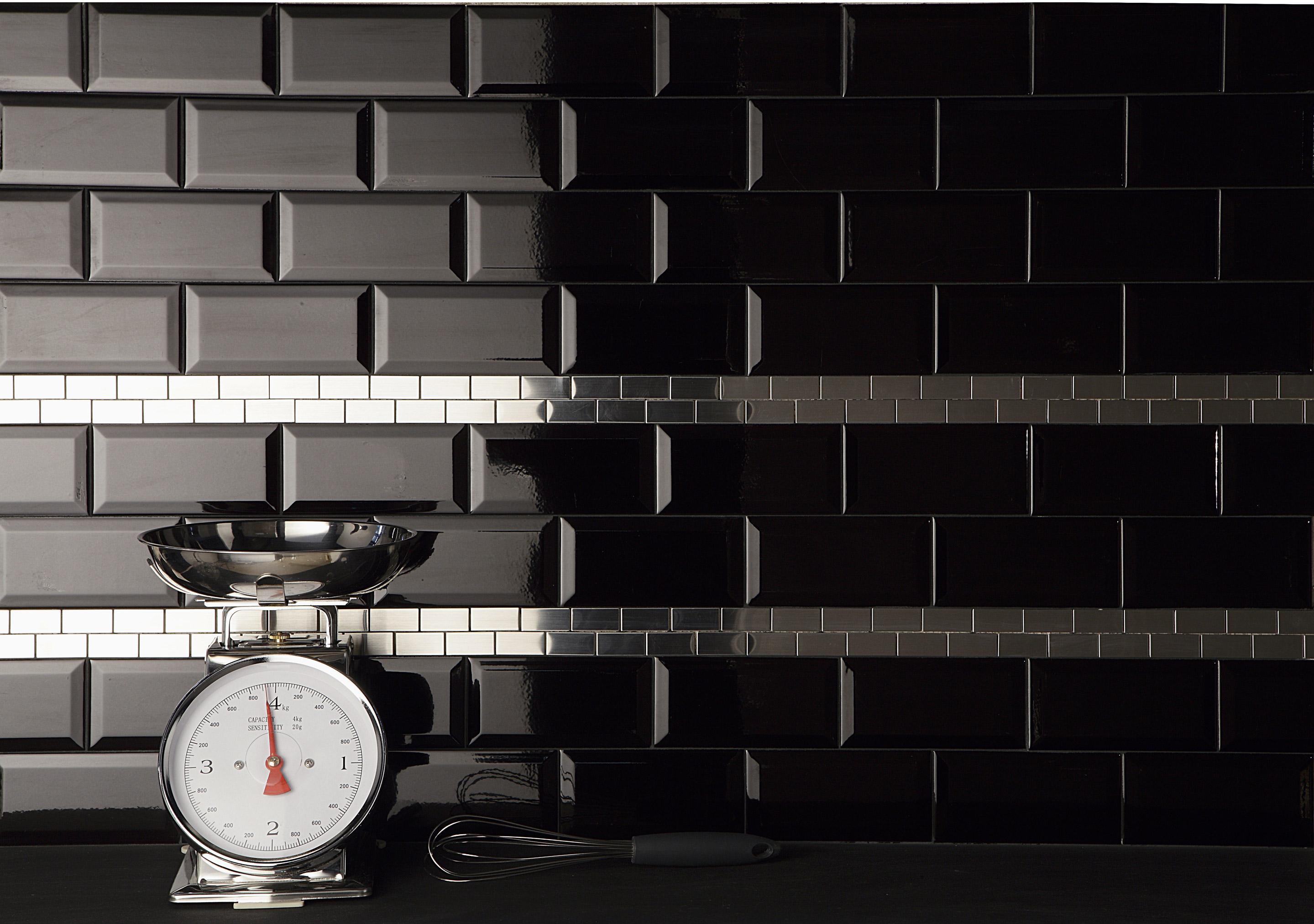 Carrelage mur uni noir brillante l.7.5 x L.15 cm, Metro