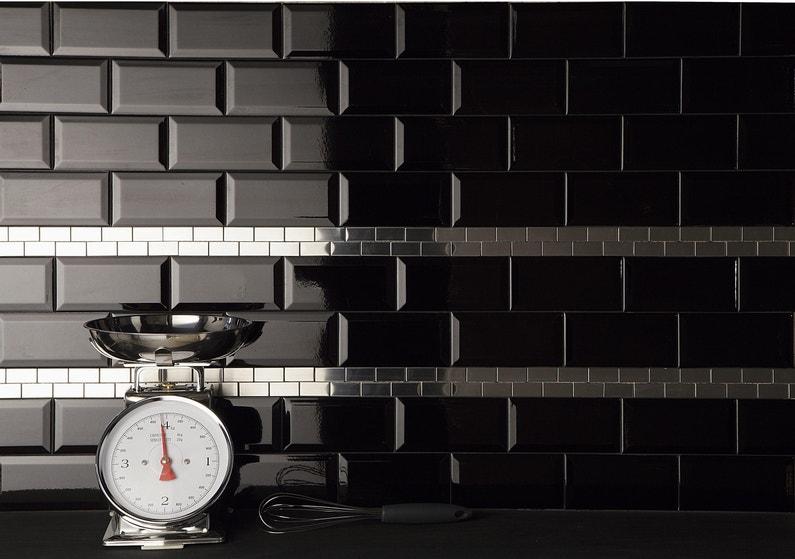 Faïence Mur Noir Métro L 7 5 X L 15 Cm Leroy Merlin