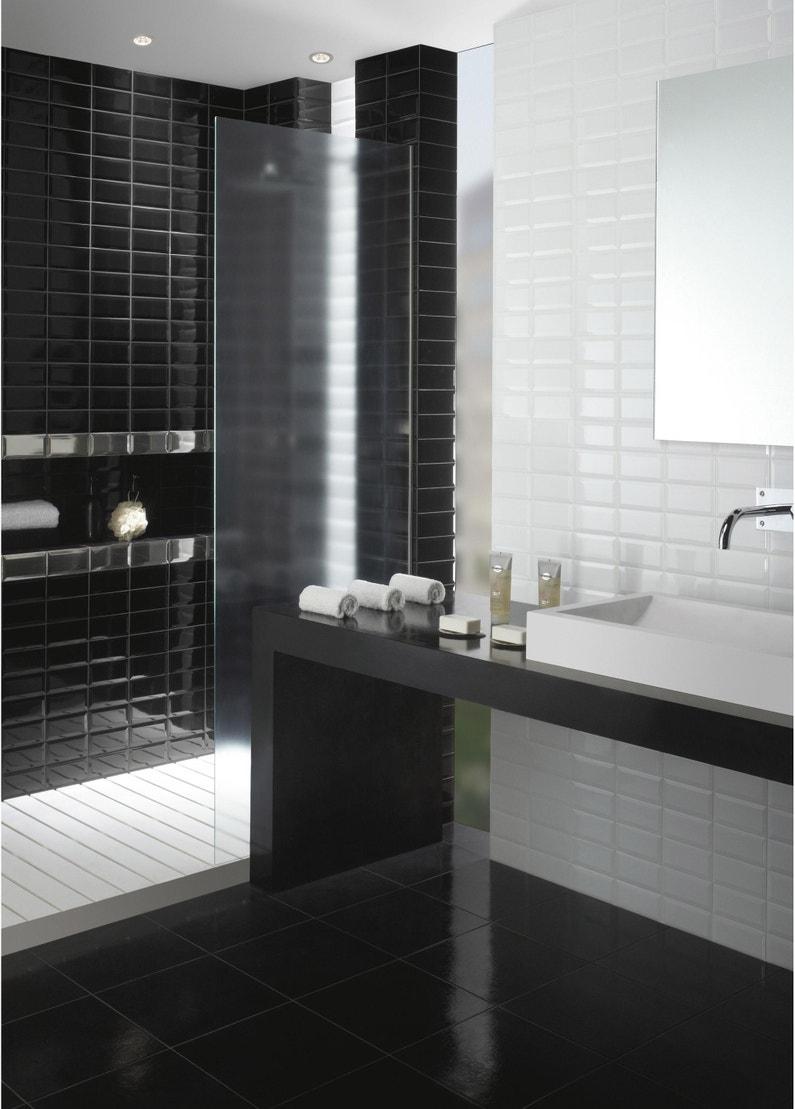 Carrelage Blanc Joint Noir carrelage mur forte uni noir brillant l.7.5 x l.15 cm, metro