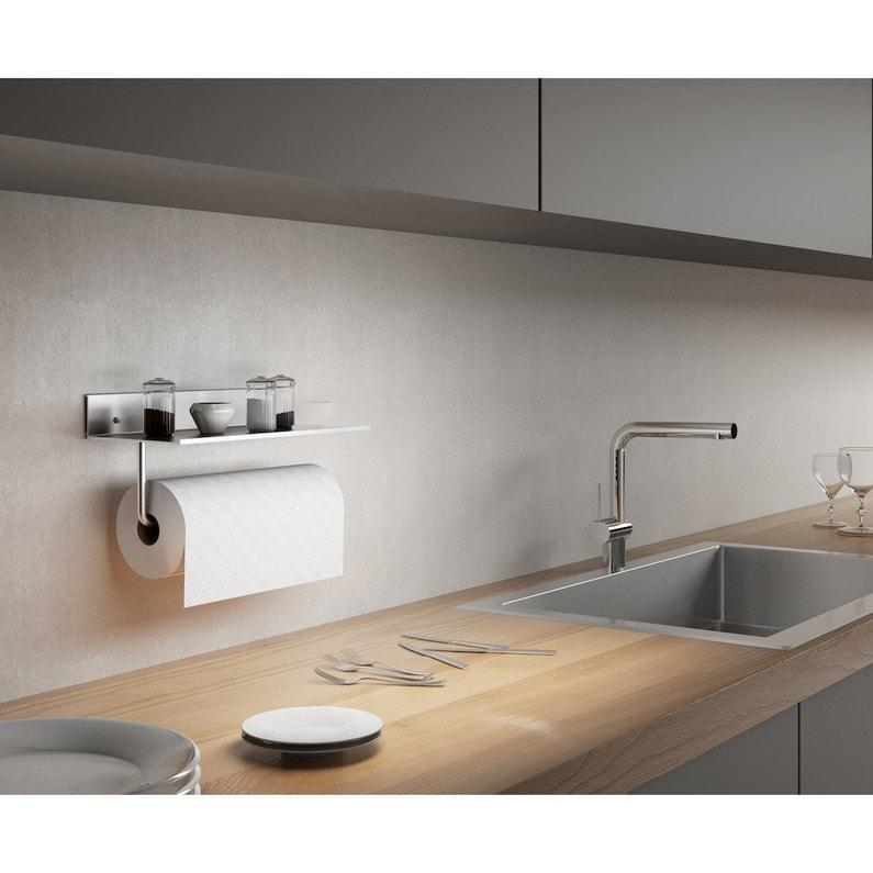 Etagère Murale Aluminium Blanc Mat Porte Rouleau L30 X H4 X P13 Cm Ep5 Mm