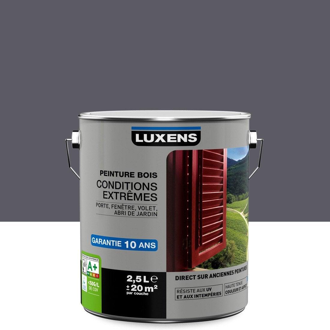 Couleur Peinture Volet Bois peinture bois extérieur conditions extrêmes luxens, gris galet n°1, 2.5 l