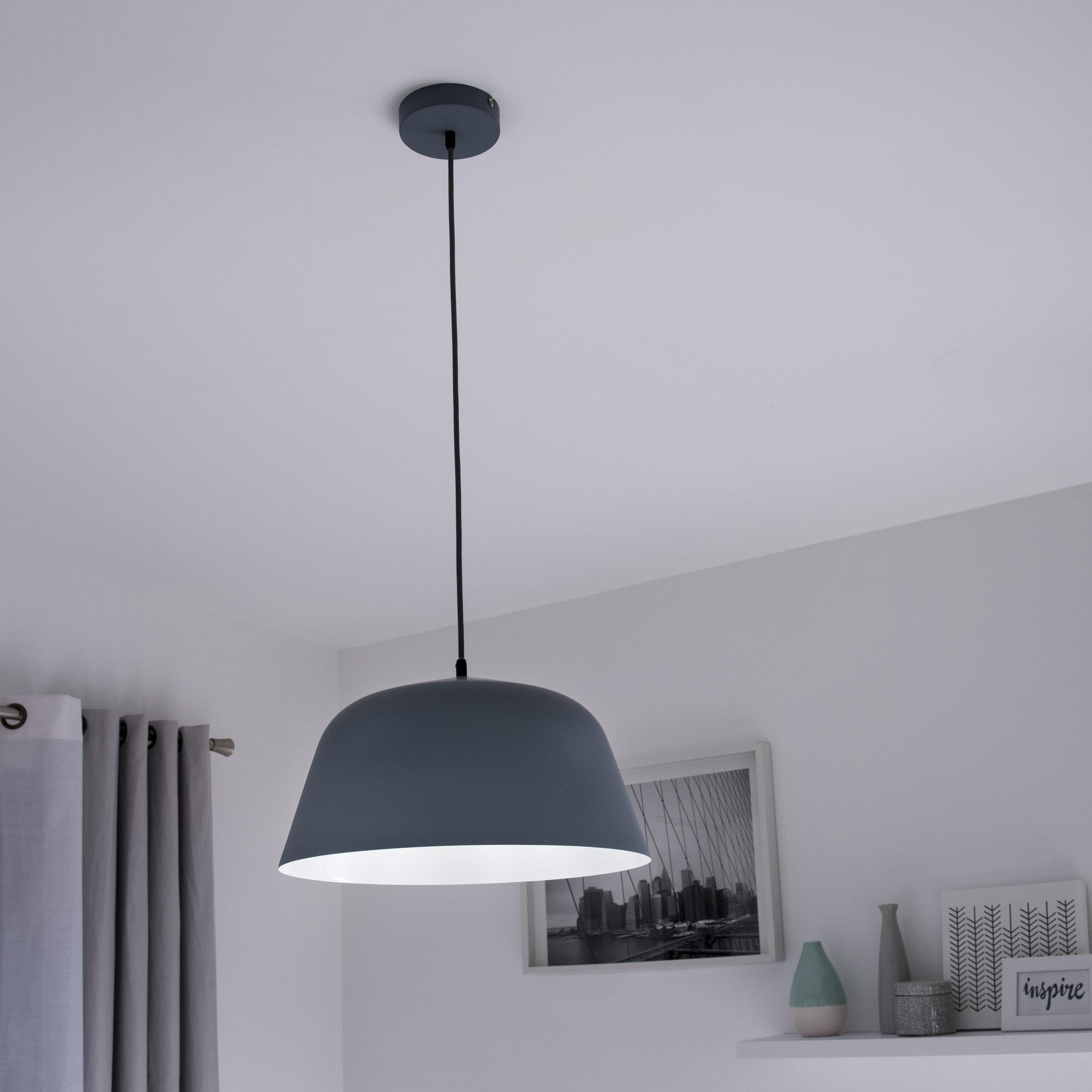 Suspension, scandinave métal gris INSPIRE Bells 1 lumière(s) D.40.0 cm