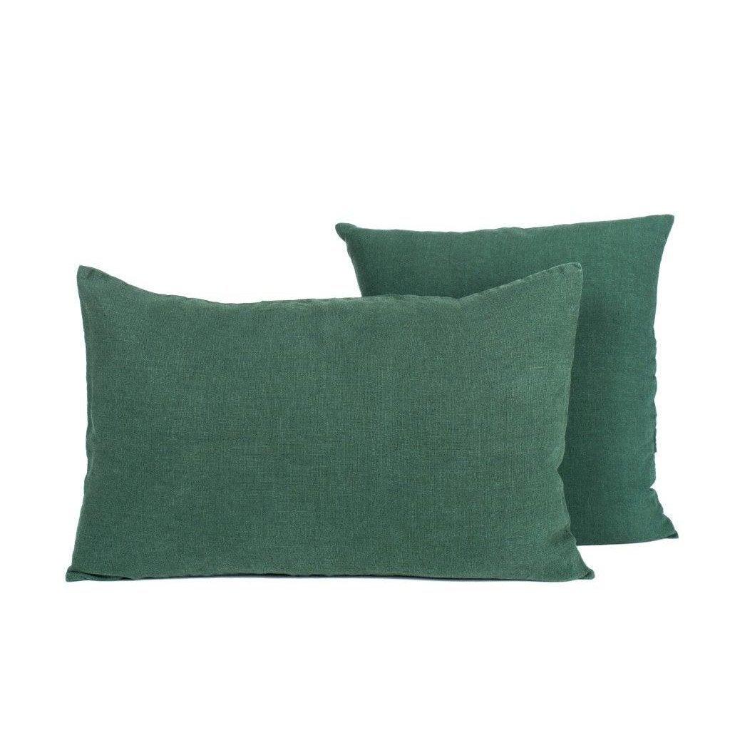 Coussin Solenzara lin lavé, vert meleze l.40 x H.60 cm