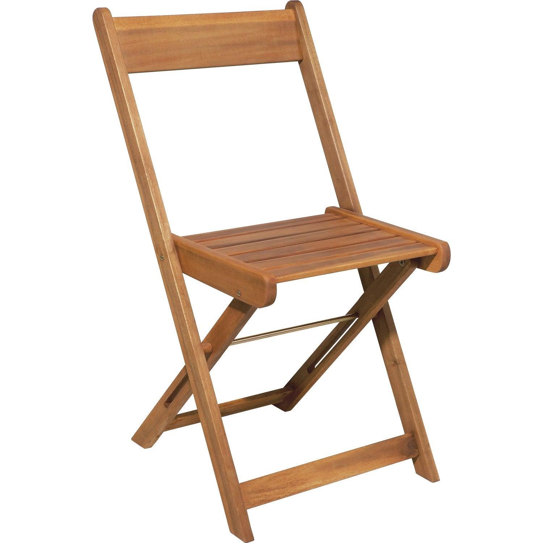 Chaise de jardin en bois porto miel leroy merlin for Chaise fauteuil de table