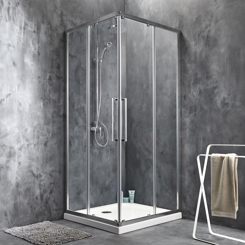 Porte de douche coulissante angle carr 90 x 90 cm - Porte de douche angle ...