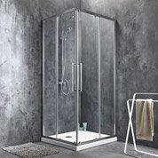 Porte de douche coulissante angle carré l.90 x L.90 cm, chromé, Purity3