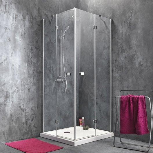 Porte de douche battante angle carr x cm - Leroy merlin paroi de douche ...