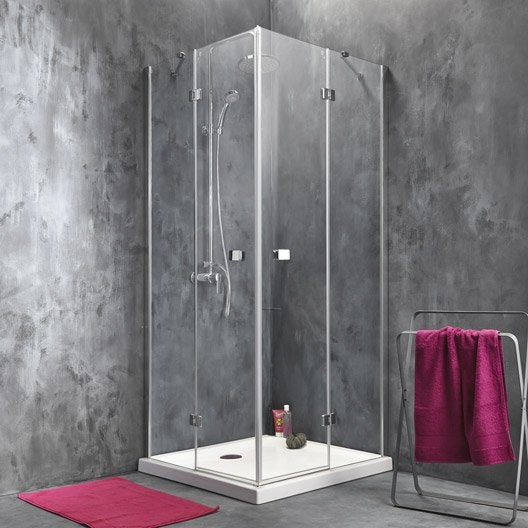 Porte de douche angle carr x cm transparent for Leroy merlin porte douche