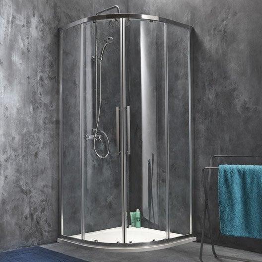 Porte de douche coulissante angle 1 4 de cercle x cm chrom purit - Prix porte de douche ...