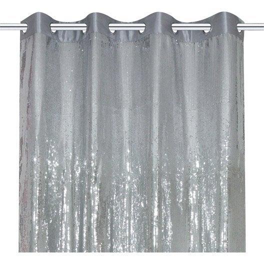 rideau petit sequin argent 140 x 250 cm leroy merlin. Black Bedroom Furniture Sets. Home Design Ideas