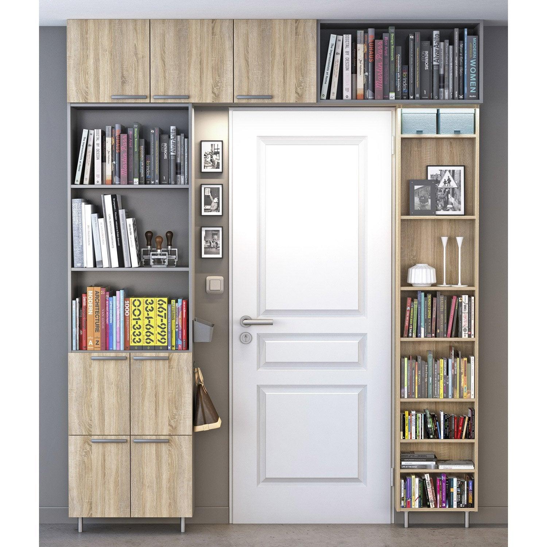 Biblioth Que Spaceo Home Effet Ch Ne Leroy Merlin # Bibliotheque En Vitre Aluminium