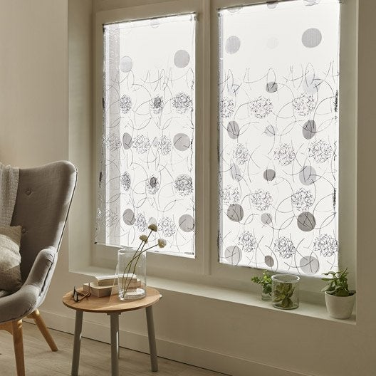 paire de vitrages luna gris x cm leroy merlin. Black Bedroom Furniture Sets. Home Design Ideas