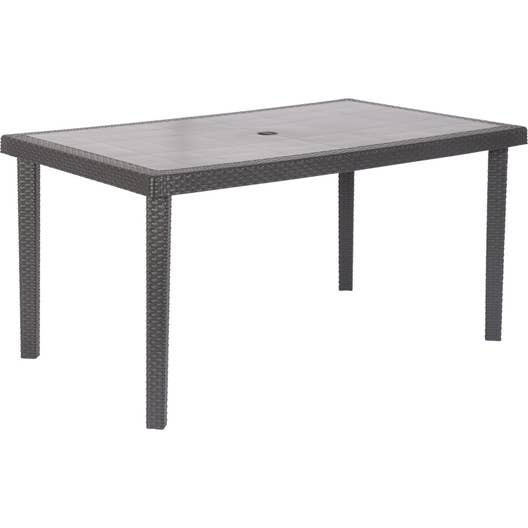 table de jardin boh me rectangulaire anthracite 6 personnes leroy merlin. Black Bedroom Furniture Sets. Home Design Ideas