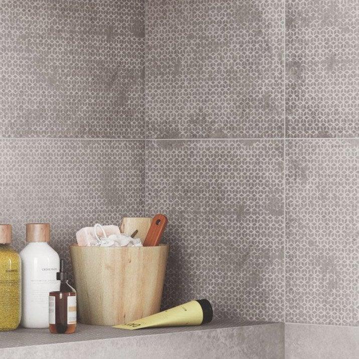 Décor mur gris satiné l.30 x L.120 cm, Harlem origami | Leroy Merlin