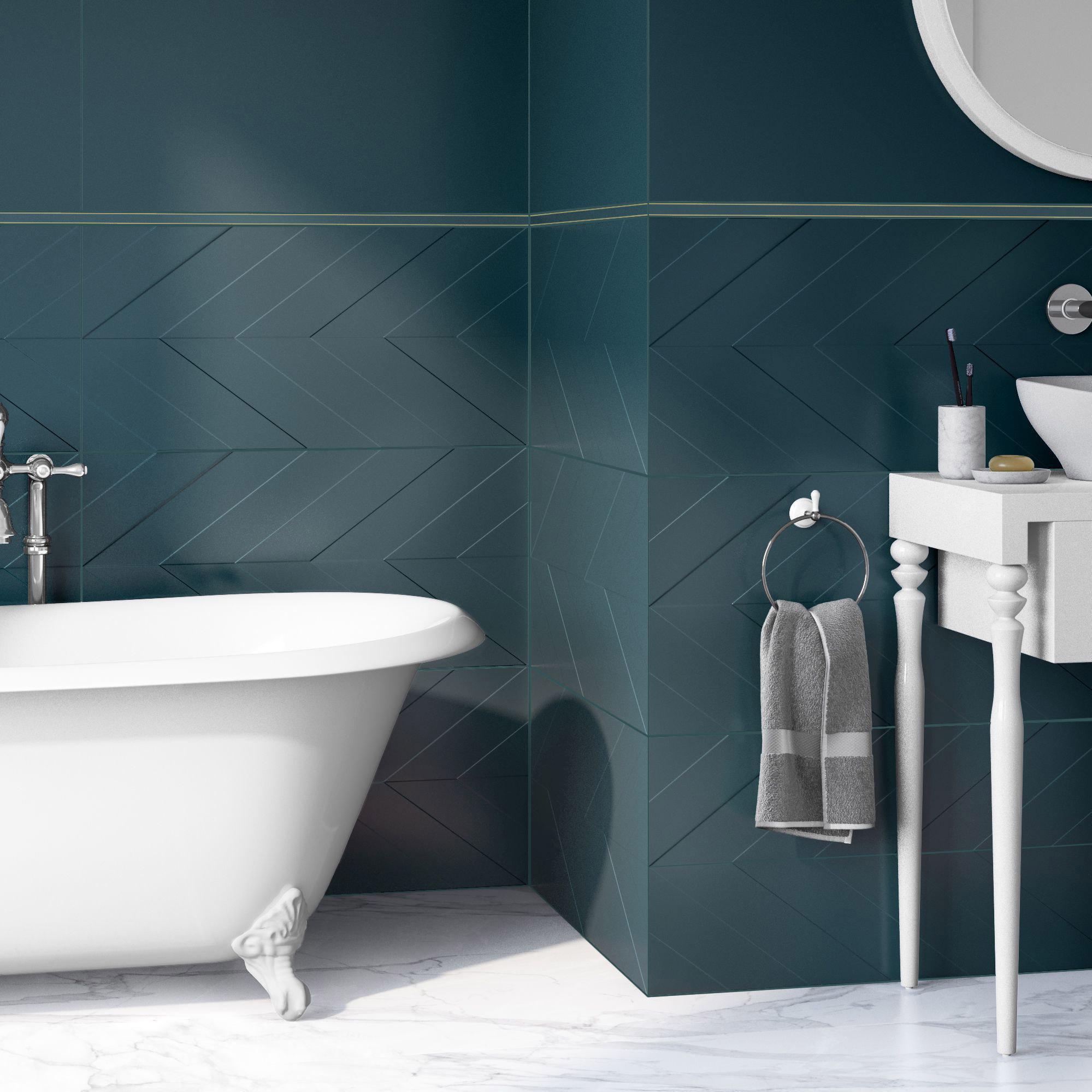 Faïence mur bleu, Decor home chevron mat l.40 x L.80 cm