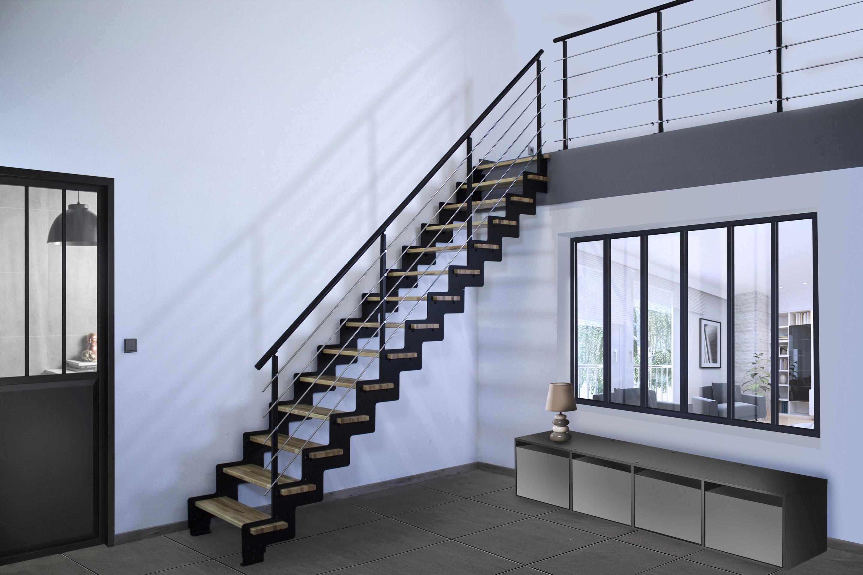 Vernis Pour Marche Escalier escalier droit acier noir crémaillère 14 marches frêne verni , l.85 cm