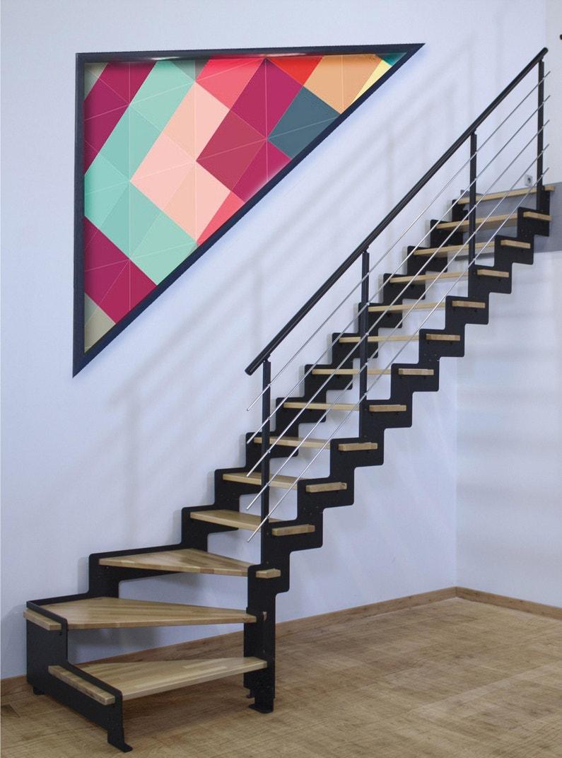 Escalier Bois Metal Noir escalier 1/4 t. bas révers. acier noir crémaillère 14 mar. hêtre verni,  l.85 cm